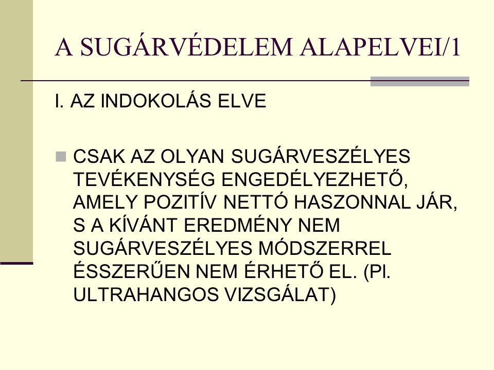 A SUGÁRVÉDELEM ALAPELVEI/1