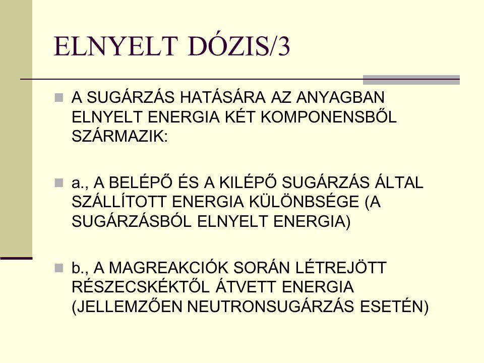 ELNYELT DÓZIS/3 A SUGÁRZÁS HATÁSÁRA AZ ANYAGBAN ELNYELT ENERGIA KÉT KOMPONENSBŐL SZÁRMAZIK: