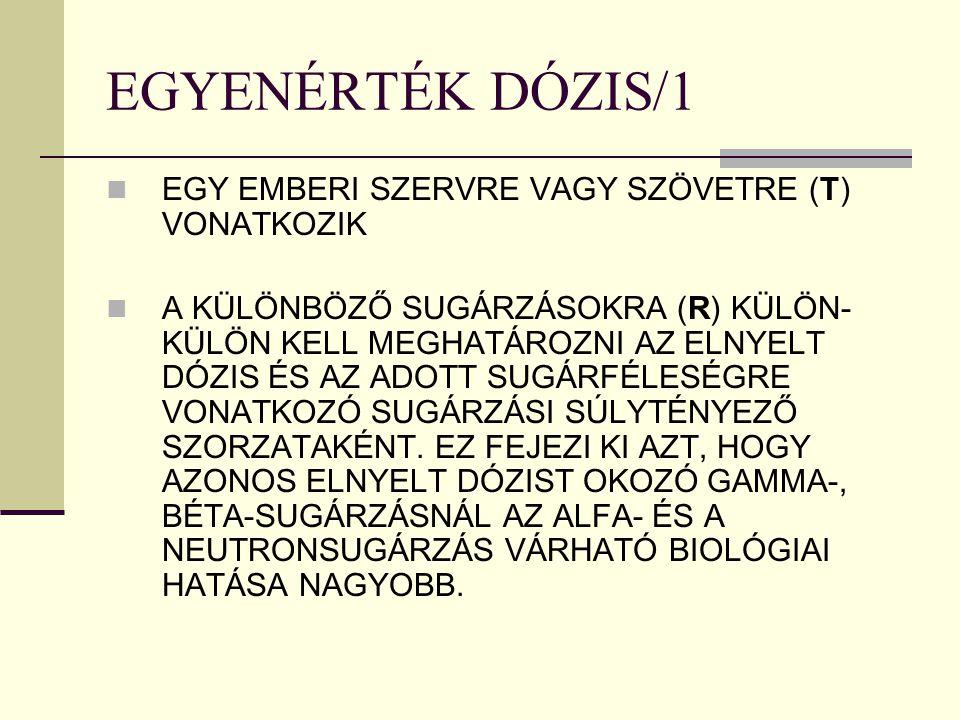EGYENÉRTÉK DÓZIS/1 EGY EMBERI SZERVRE VAGY SZÖVETRE (T) VONATKOZIK