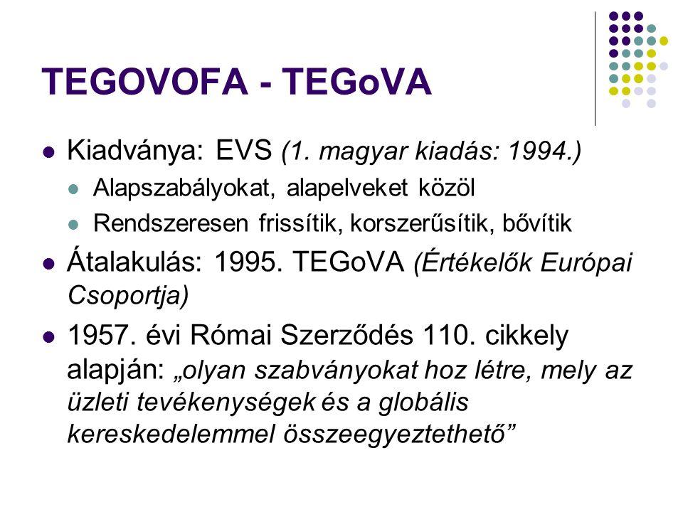 TEGOVOFA - TEGoVA Kiadványa: EVS (1. magyar kiadás: 1994.)