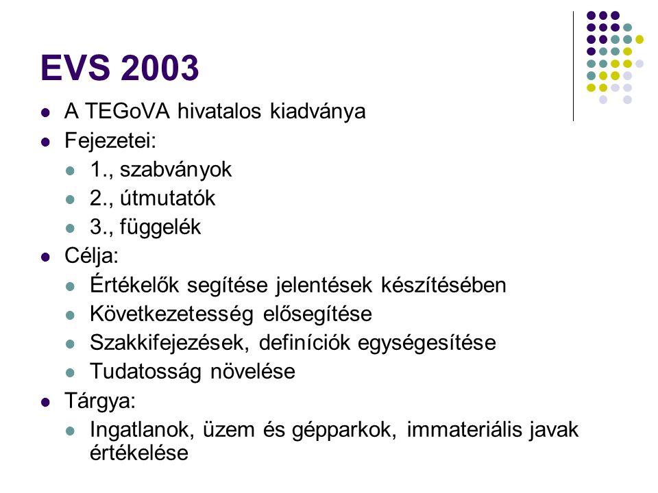 EVS 2003 A TEGoVA hivatalos kiadványa Fejezetei: 1., szabványok