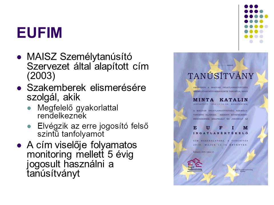 EUFIM MAISZ Személytanúsító Szervezet által alapított cím (2003)