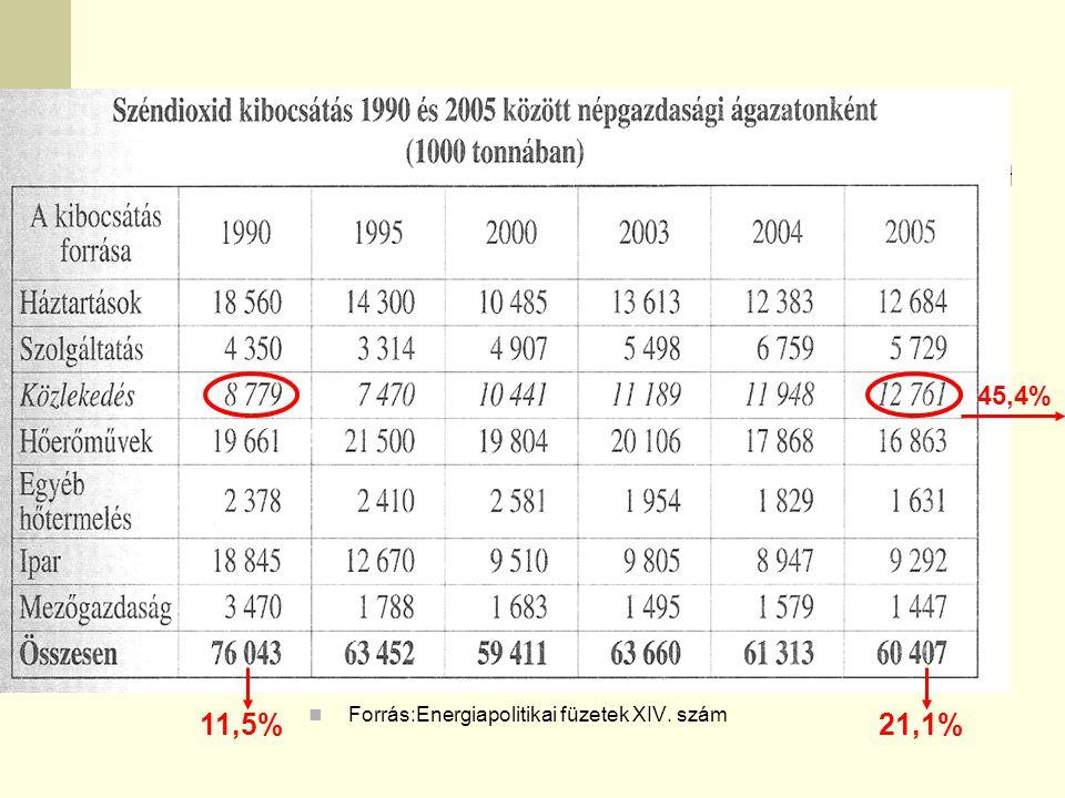 45,4% 11,5% Forrás:Energiapolitikai füzetek XIV. szám 21,1%