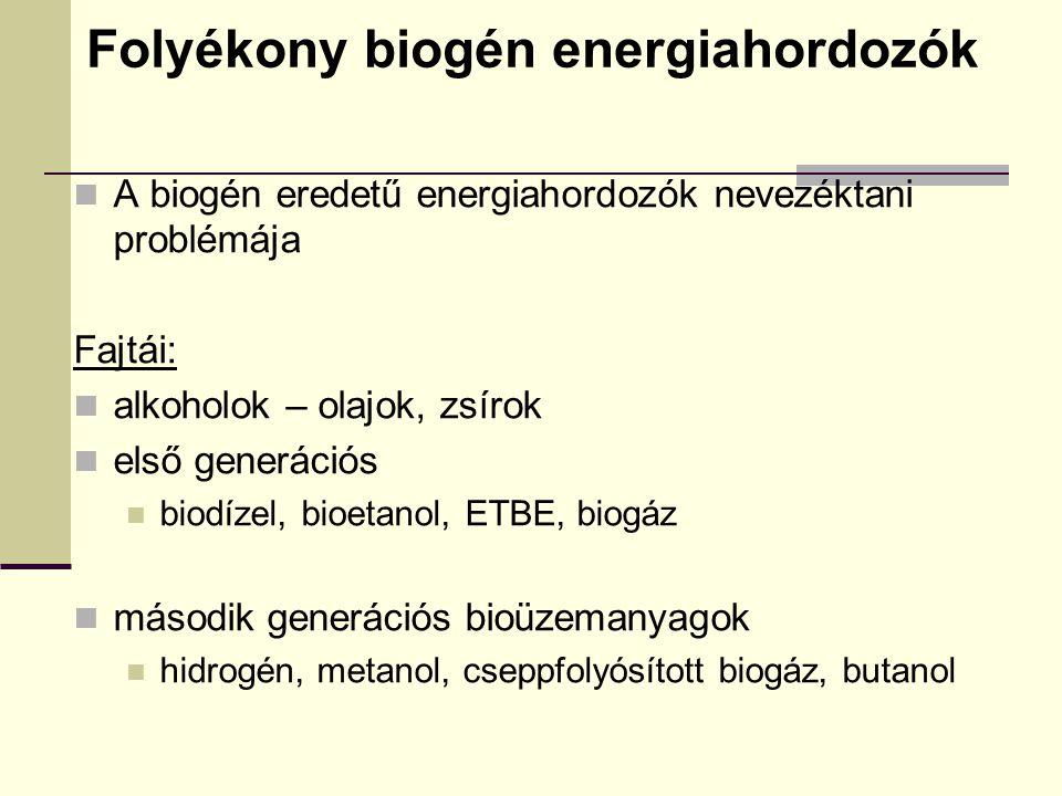 Folyékony biogén energiahordozók