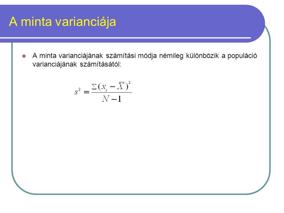 A minta varianciája A minta varianciájának számítási módja némileg különbözik a populáció varianciájának számításától:
