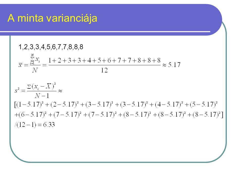 A minta varianciája 1,2,3,3,4,5,6,7,7,8,8,8