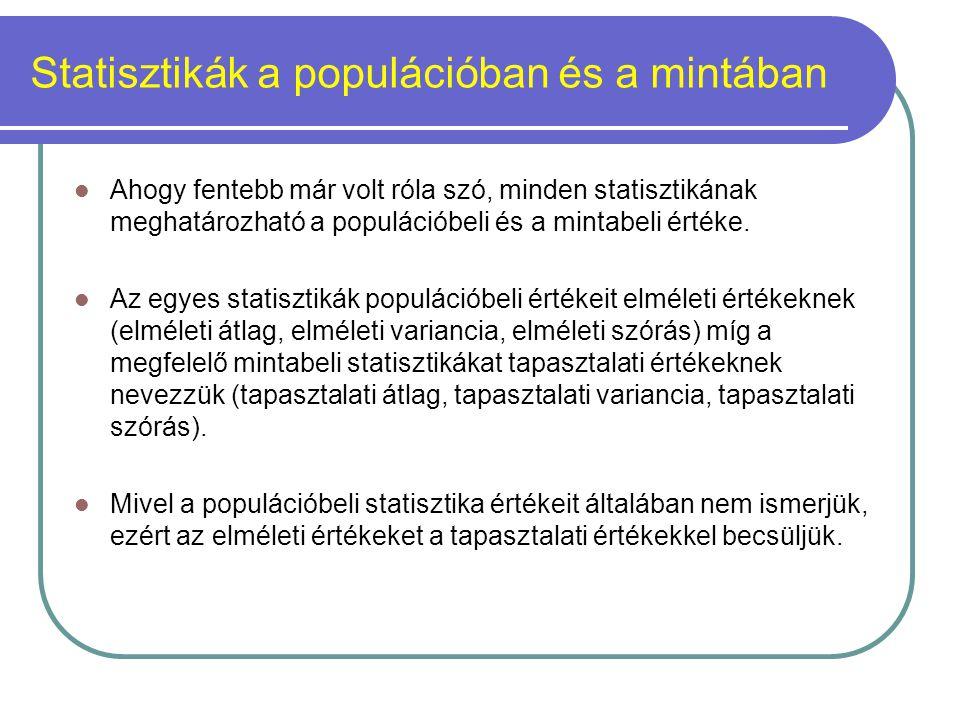 Statisztikák a populációban és a mintában