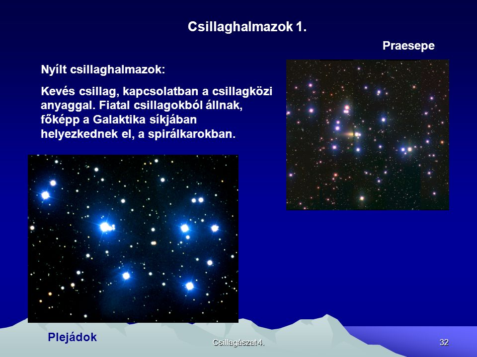 Csillaghalmazok 1. Praesepe Nyílt csillaghalmazok: