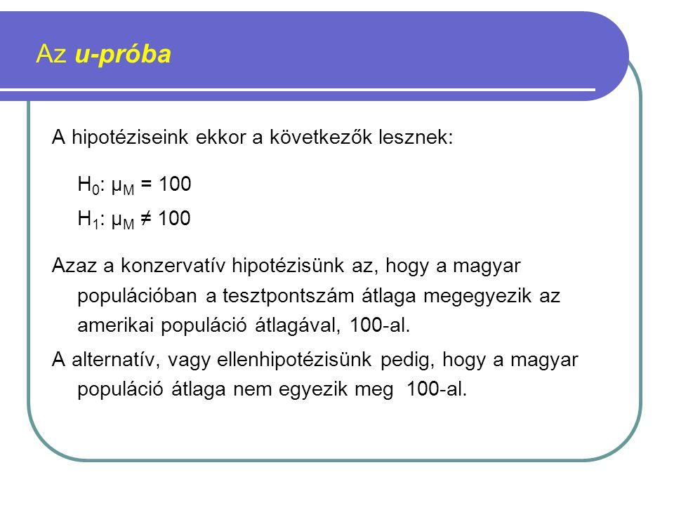 Az u-próba A hipotéziseink ekkor a következők lesznek: H0: µM = 100