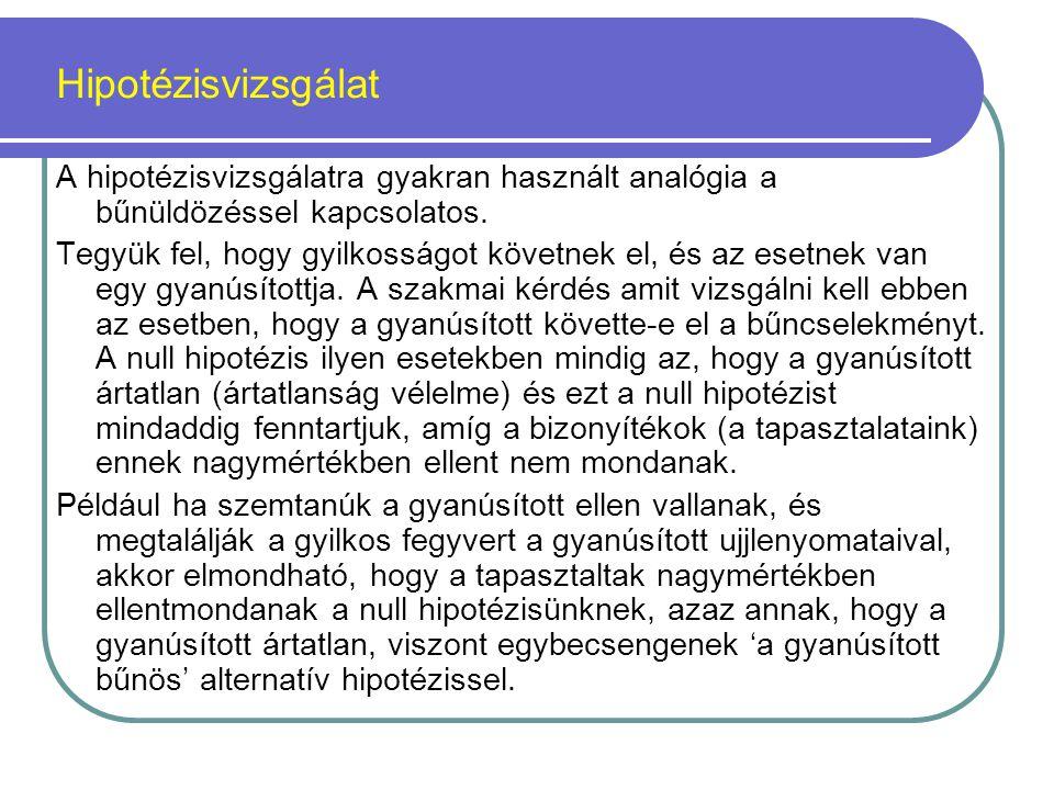 Hipotézisvizsgálat A hipotézisvizsgálatra gyakran használt analógia a bűnüldözéssel kapcsolatos.