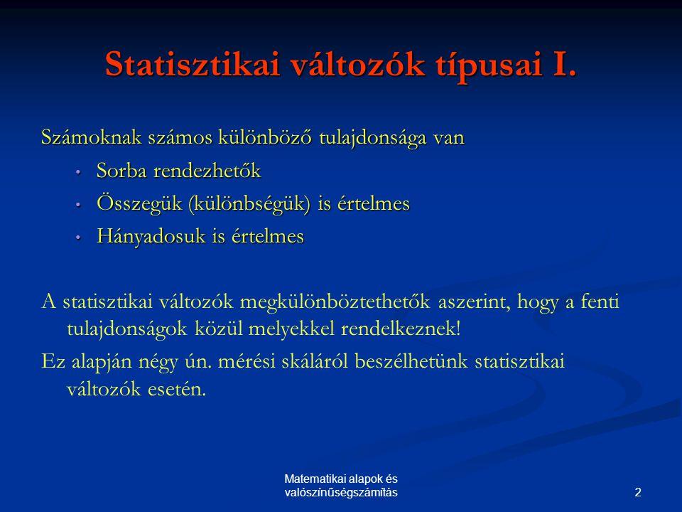 Statisztikai változók típusai I.