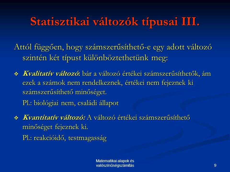 Statisztikai változók típusai III.