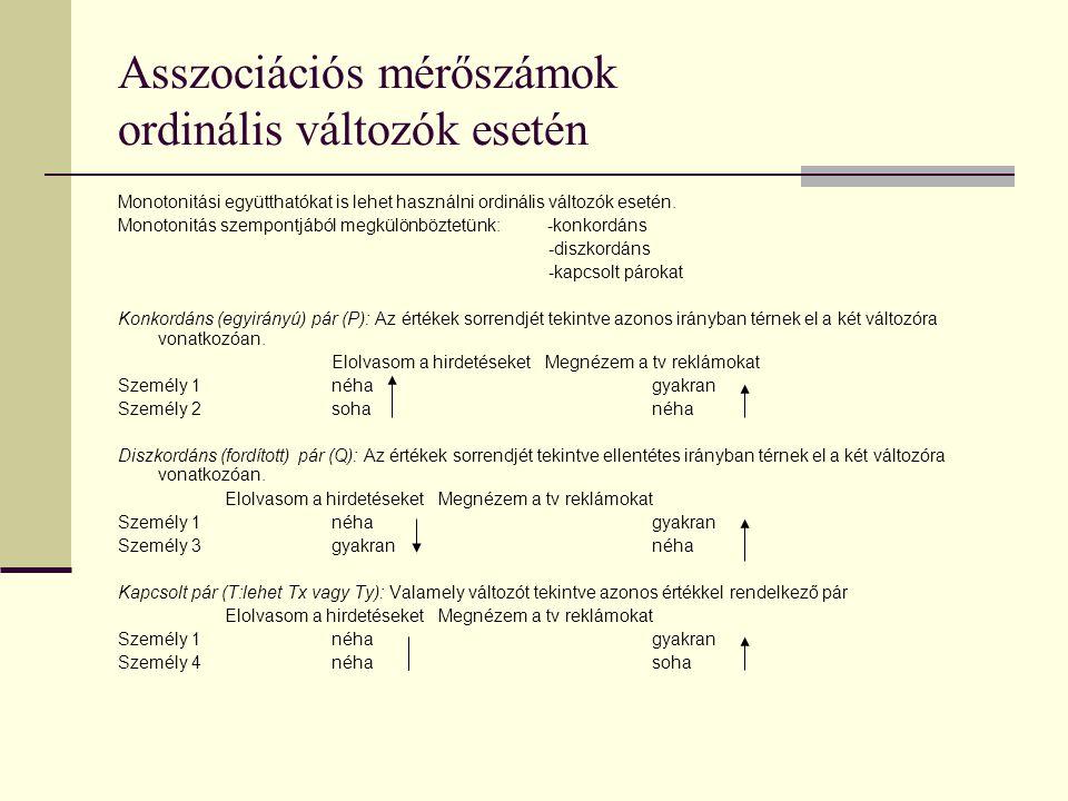 Asszociációs mérőszámok ordinális változók esetén