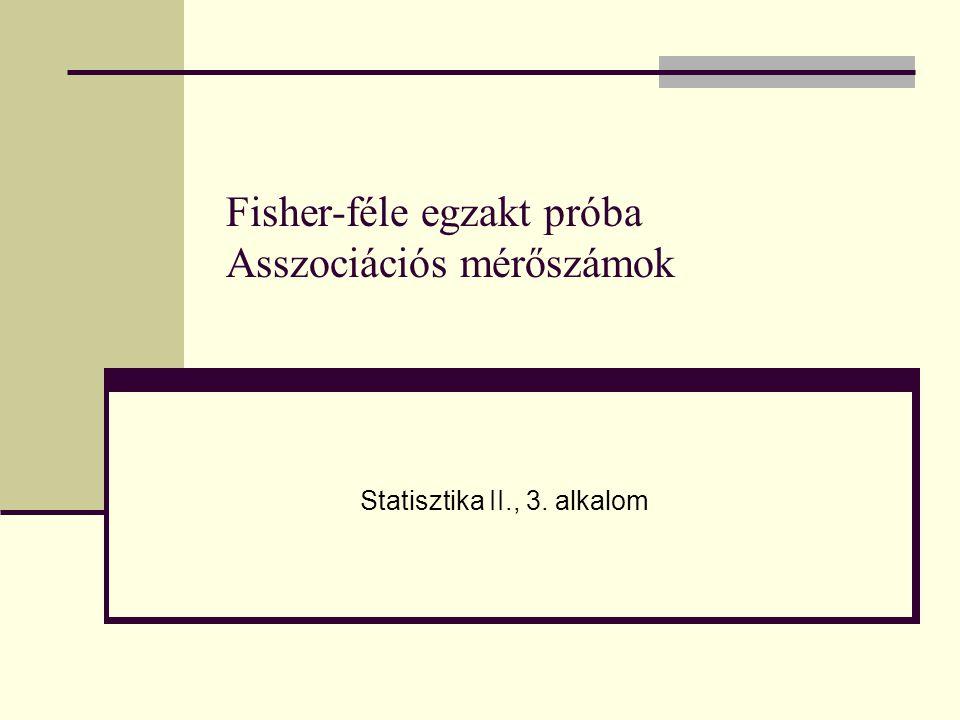 Fisher-féle egzakt próba Asszociációs mérőszámok