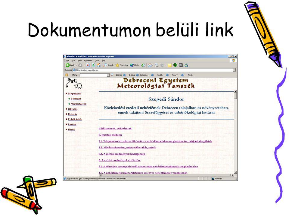 Dokumentumon belüli link