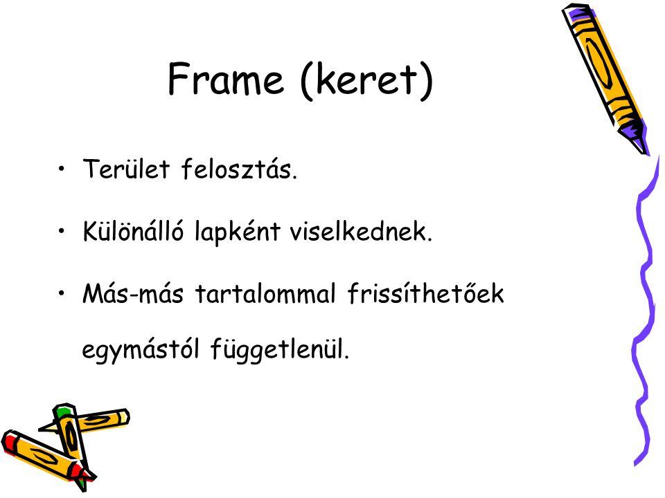 Frame (keret) Terület felosztás. Különálló lapként viselkednek.