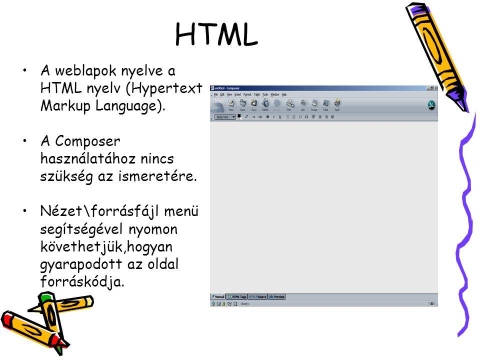 HTML A weblapok nyelve a HTML nyelv (Hypertext Markup Language).