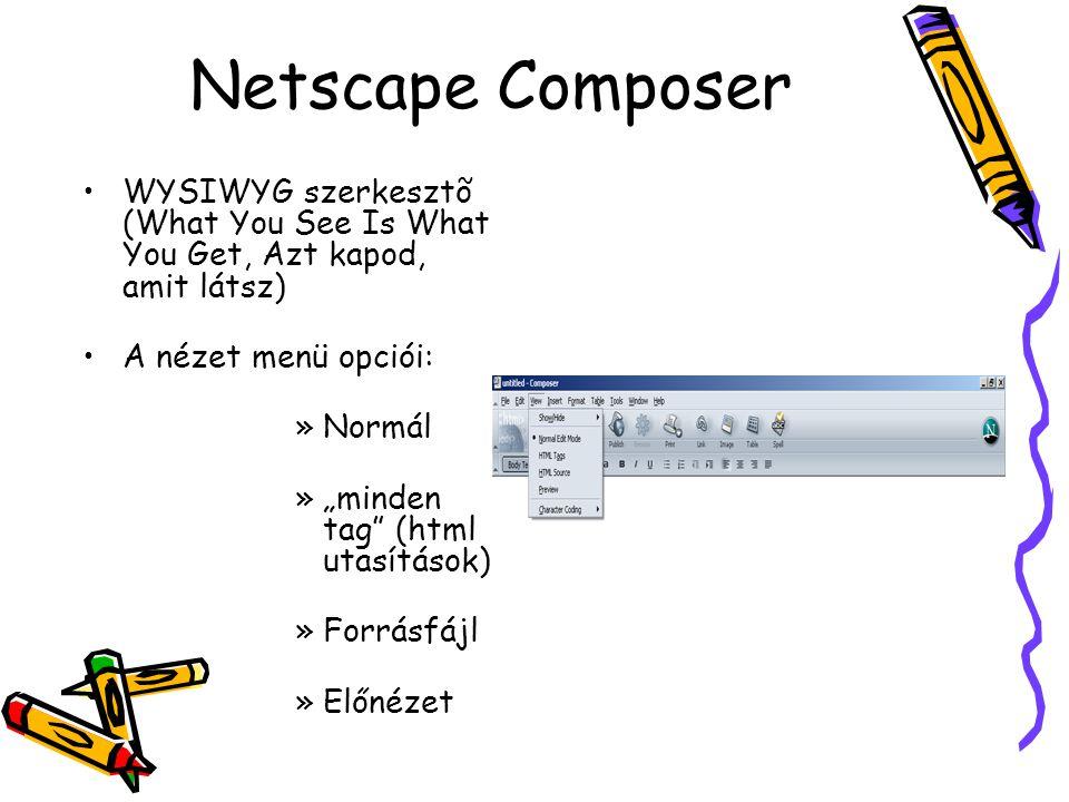 Netscape Composer WYSIWYG szerkesztõ (What You See Is What You Get, Azt kapod, amit látsz) A nézet menü opciói: