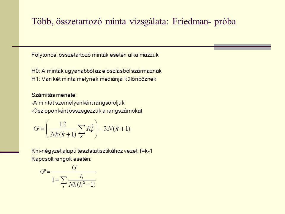 Több, összetartozó minta vizsgálata: Friedman- próba
