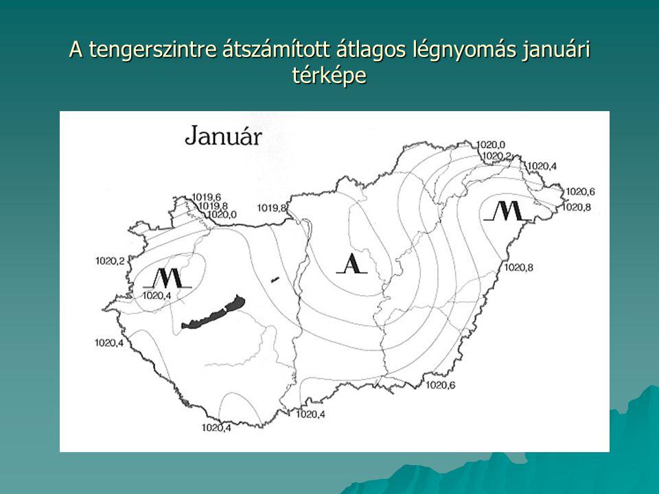 A tengerszintre átszámított átlagos légnyomás januári térképe