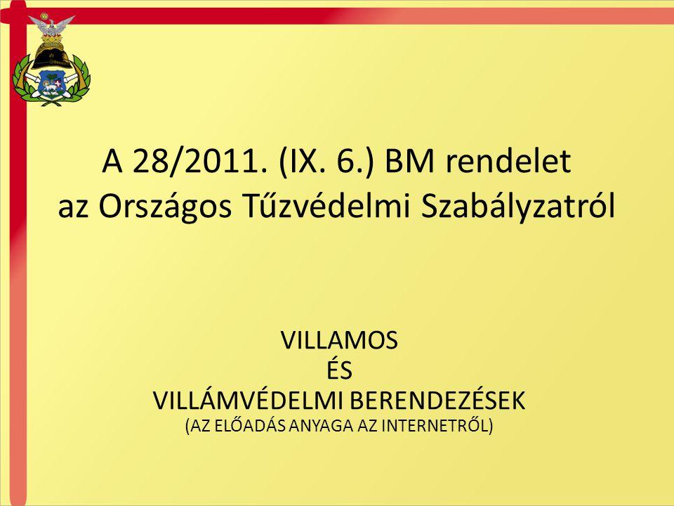 A 28/2011. (IX. 6.) BM rendelet az Országos Tűzvédelmi Szabályzatról
