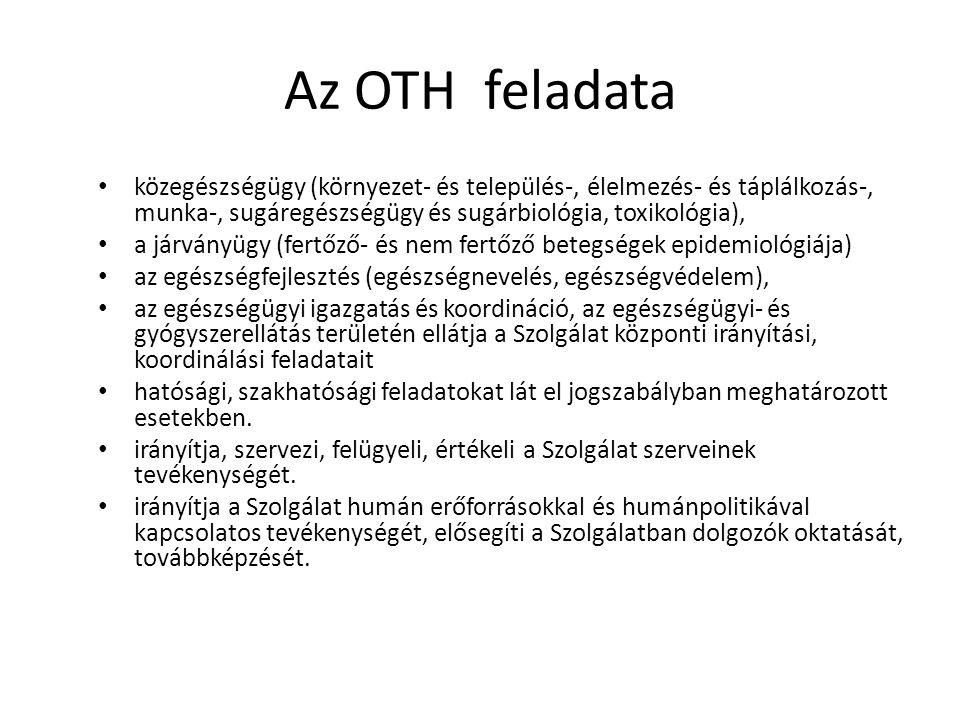 Az OTH feladata közegészségügy (környezet- és település-, élelmezés- és táplálkozás-, munka-, sugáregészségügy és sugárbiológia, toxikológia),