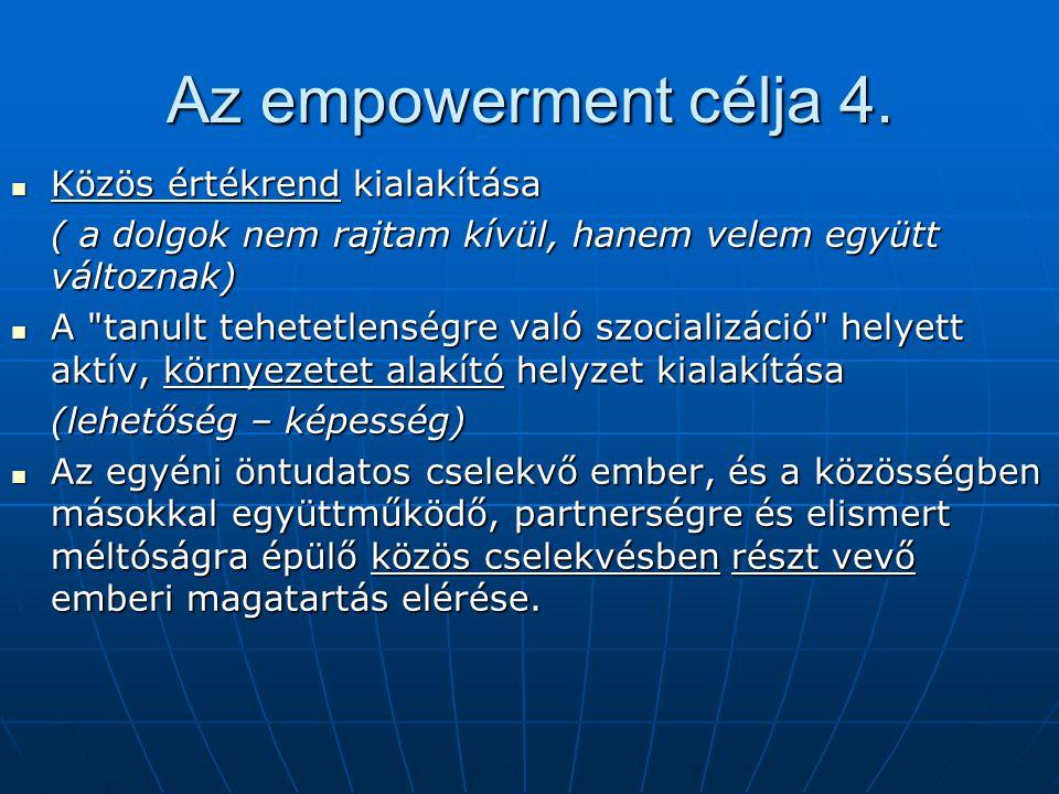 Az empowerment célja 4. Közös értékrend kialakítása