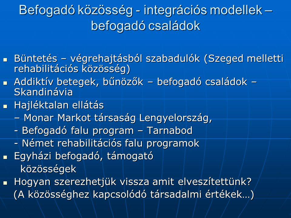 Befogadó közösség - integrációs modellek – befogadó családok