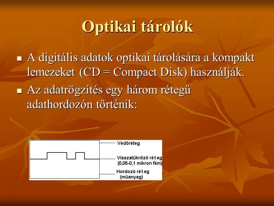 Optikai tárolók A digitális adatok optikai tárolására a kompakt lemezeket (CD = Compact Disk) használják.
