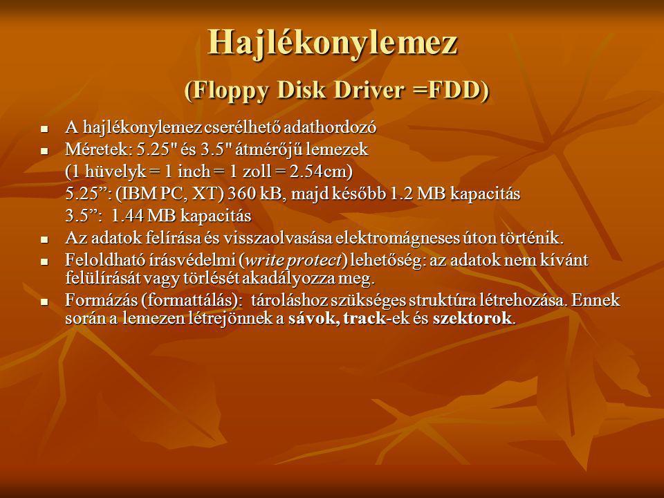 Hajlékonylemez (Floppy Disk Driver =FDD)