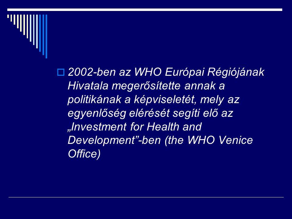 """2002-ben az WHO Európai Régiójának Hivatala megerősítette annak a politikának a képviseletét, mely az egyenlőség elérését segíti elő az """"Investment for Health and Development -ben (the WHO Venice Office)"""