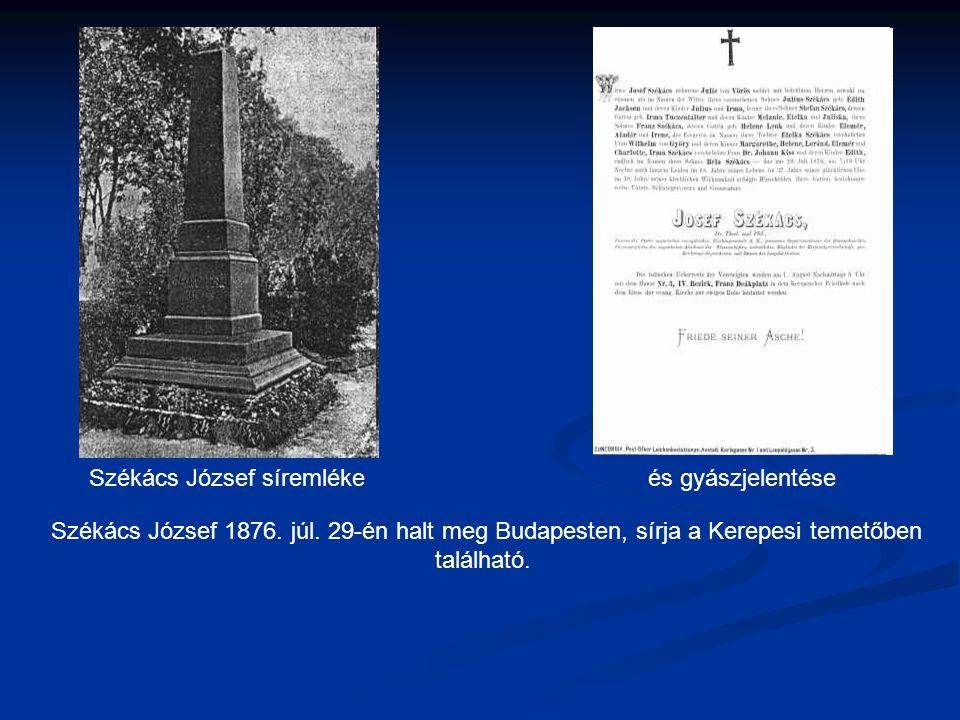 Székács József síremléke