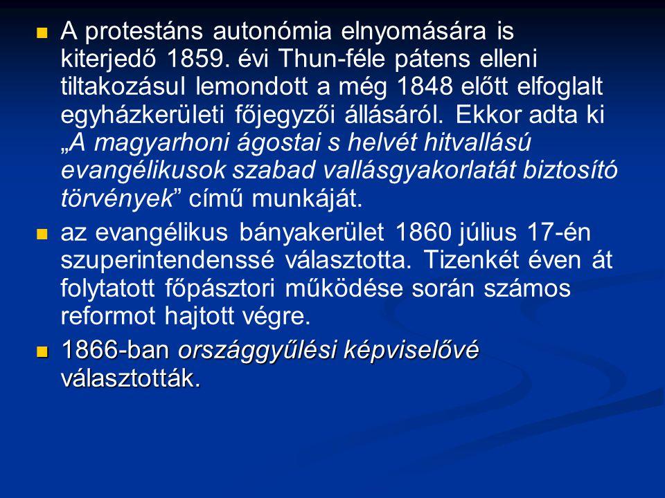 A protestáns autonómia elnyomására is kiterjedő 1859