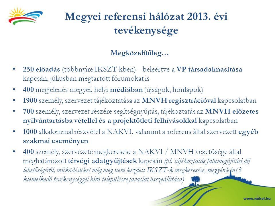 Megyei referensi hálózat 2013. évi tevékenysége