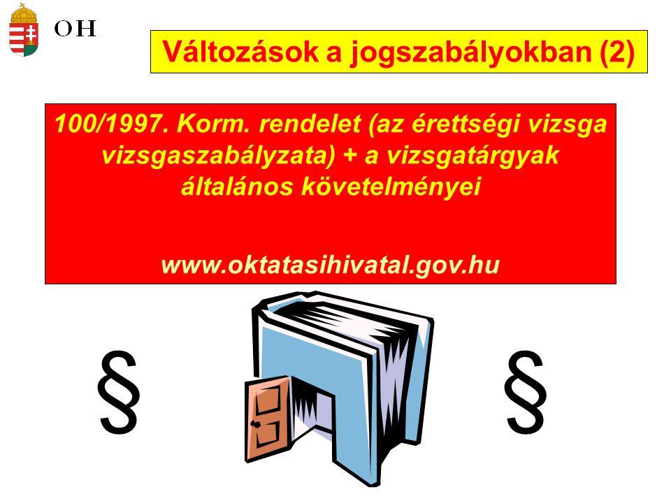 Változások a jogszabályokban (2)