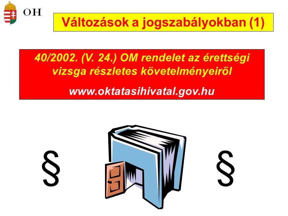 Változások a jogszabályokban (1)