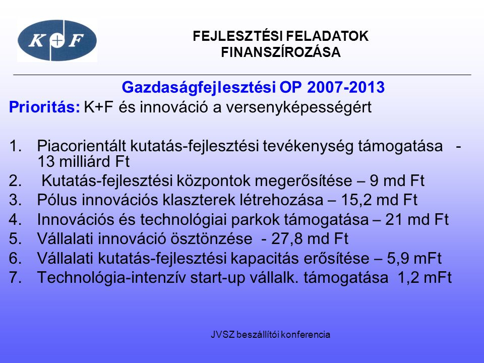 Gazdaságfejlesztési OP 2007-2013