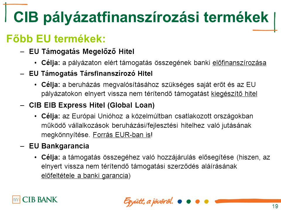 CIB pályázatfinanszírozási termékek