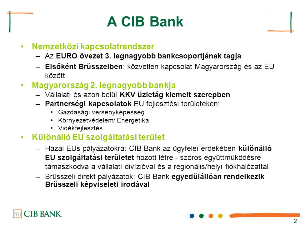 A CIB Bank Nemzetközi kapcsolatrendszer