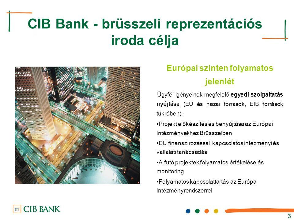 CIB Bank - brüsszeli reprezentációs iroda célja