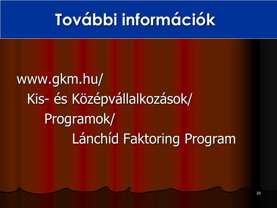 További információk www.gkm.hu/ Kis- és Középvállalkozások/ Programok/