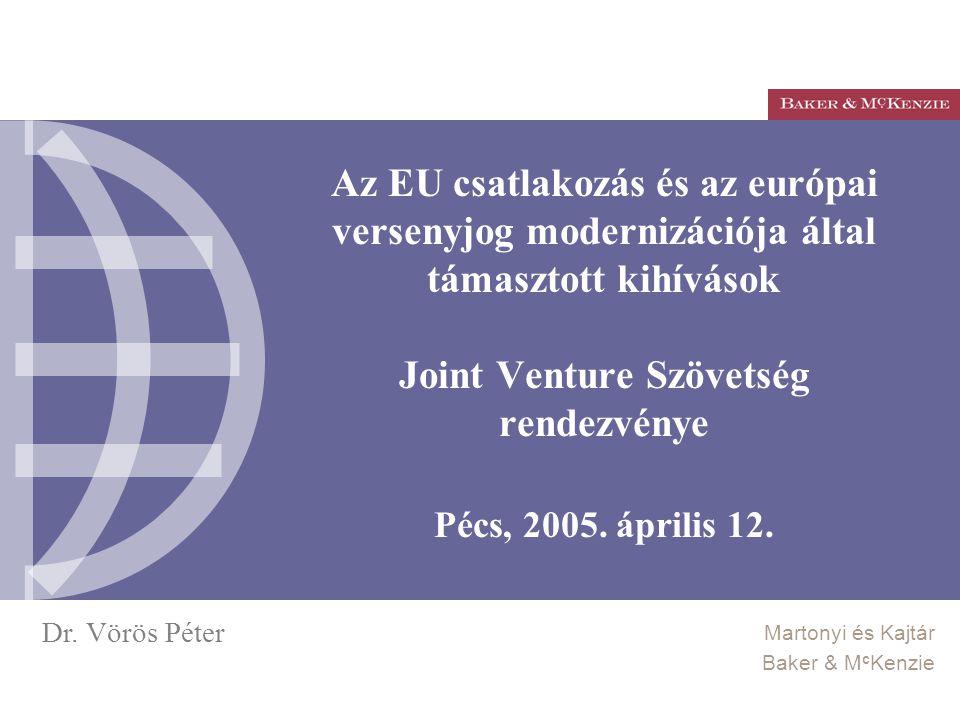 Az EU csatlakozás és az európai versenyjog modernizációja által támasztott kihívások Joint Venture Szövetség rendezvénye