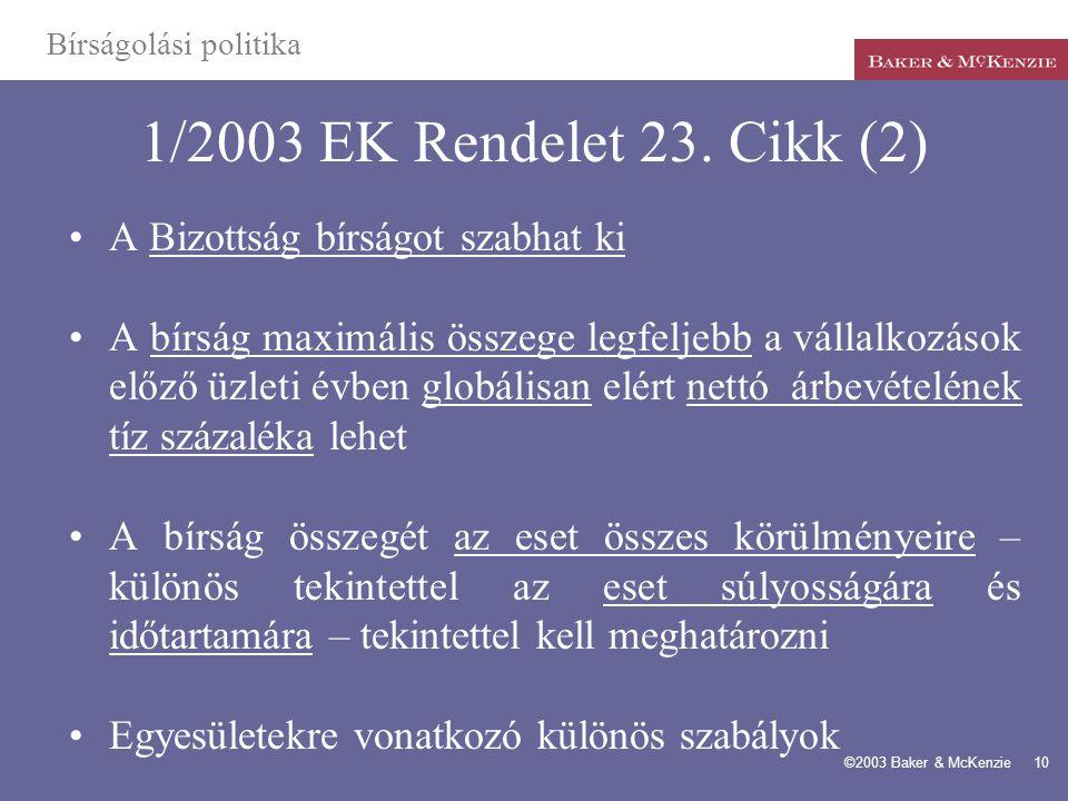 1/2003 EK Rendelet 23. Cikk (2) A Bizottság bírságot szabhat ki