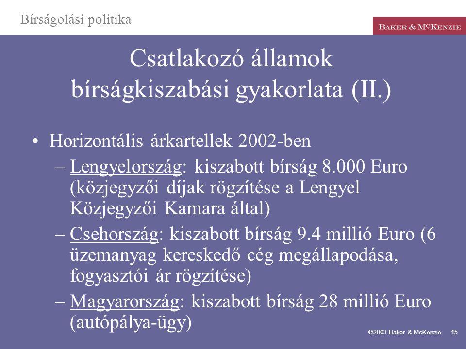 Csatlakozó államok bírságkiszabási gyakorlata (II.)