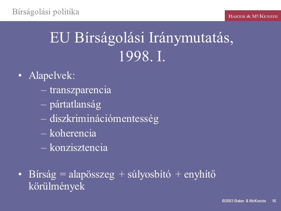 EU Bírságolási Iránymutatás, 1998. I.