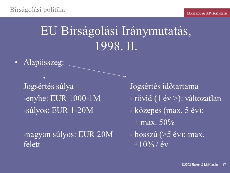 EU Bírságolási Iránymutatás, 1998. II.