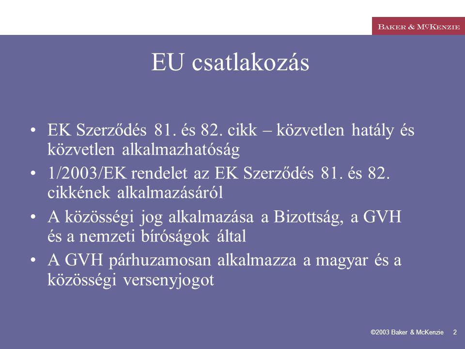 EU csatlakozás EK Szerződés 81. és 82. cikk – közvetlen hatály és közvetlen alkalmazhatóság.