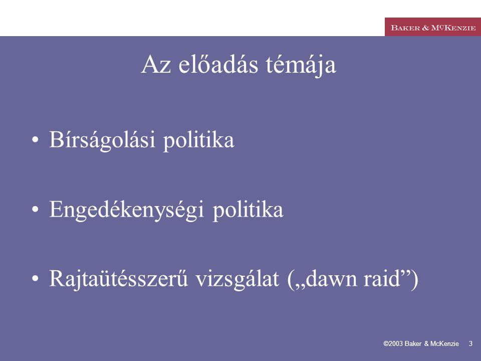 Az előadás témája Bírságolási politika Engedékenységi politika