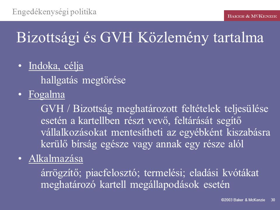 Bizottsági és GVH Közlemény tartalma
