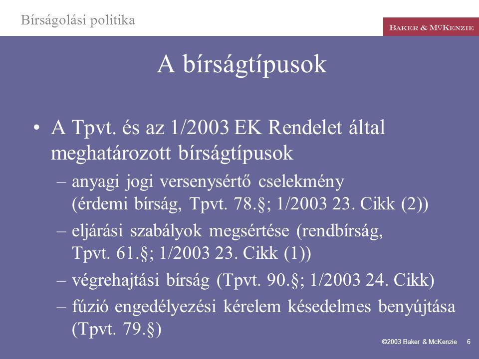 Bírságolási politika A bírságtípusok. A Tpvt. és az 1/2003 EK Rendelet által meghatározott bírságtípusok.
